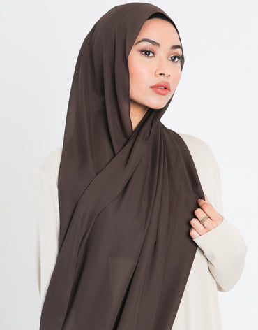 Chiffon Scarf | Dark Brown - Haute Elan