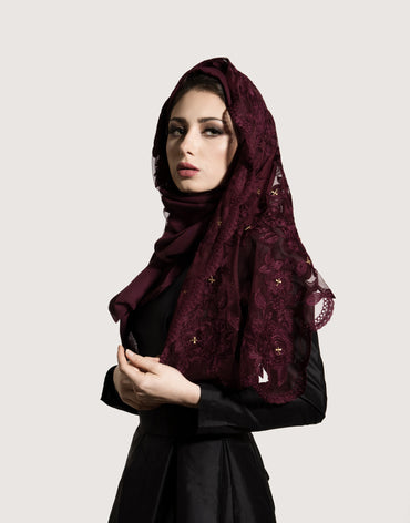 Midnight Dark Red Scarf