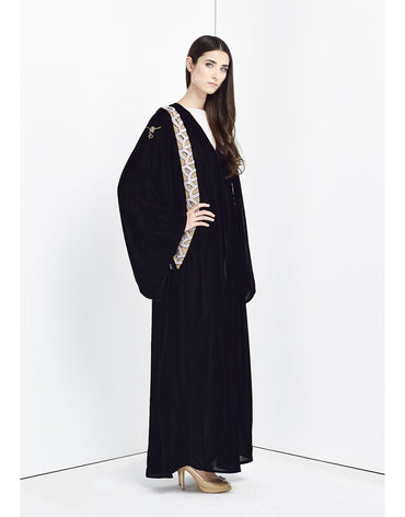 Black abaya with white stripe embellishment detail - Haute Elan