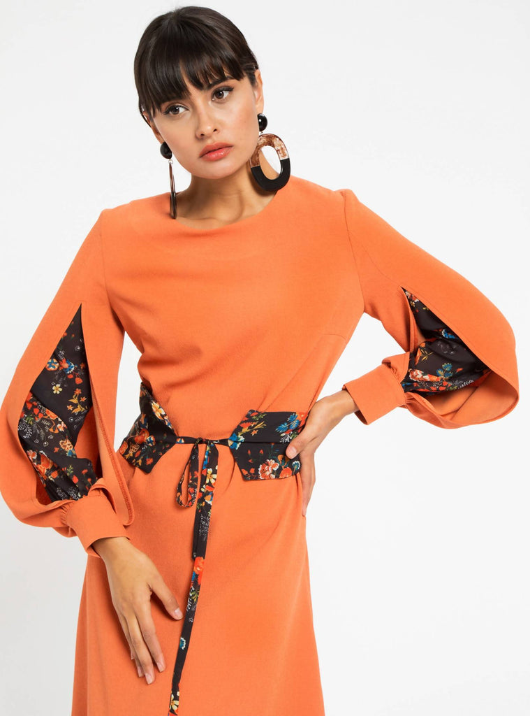 Floral Insert Sleeve Orange Dress