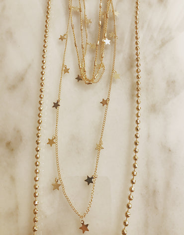 Gold ball chain extra long necklace