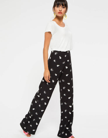 Black Floral High Waisted Flared Trouser