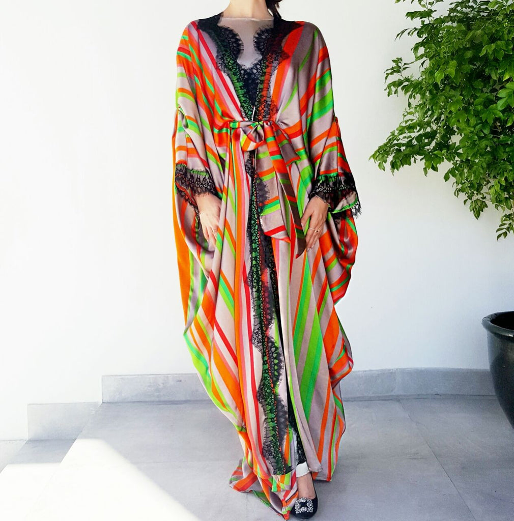 Ramadan 17 Bright Silk Striped Luxury Kaftan Abaya with French Lace