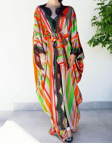 Ramadan 17 Bright Silk Striped Luxury Kaftan Abaya with French Lace - Haute Elan