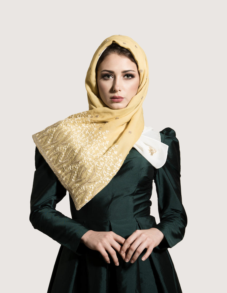 Midnight Mustard Yellow Scarf with Gold Embroidery