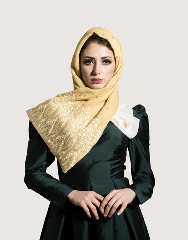 Midnight Mustard Yellow Scarf with Gold Embroidery - Haute Elan