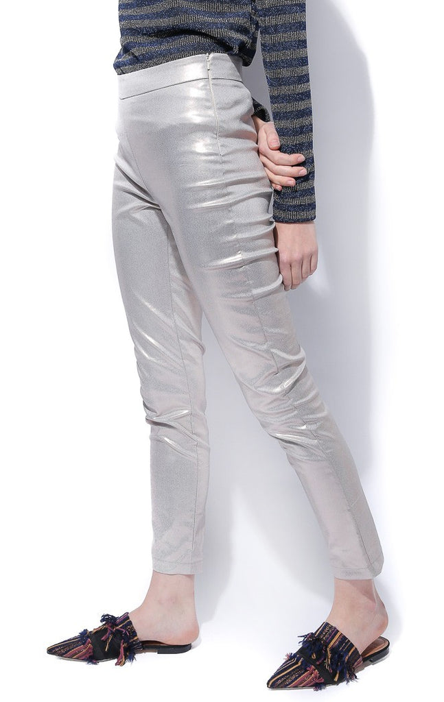 Metallic Striaght Leg Trousers - Haute Elan
