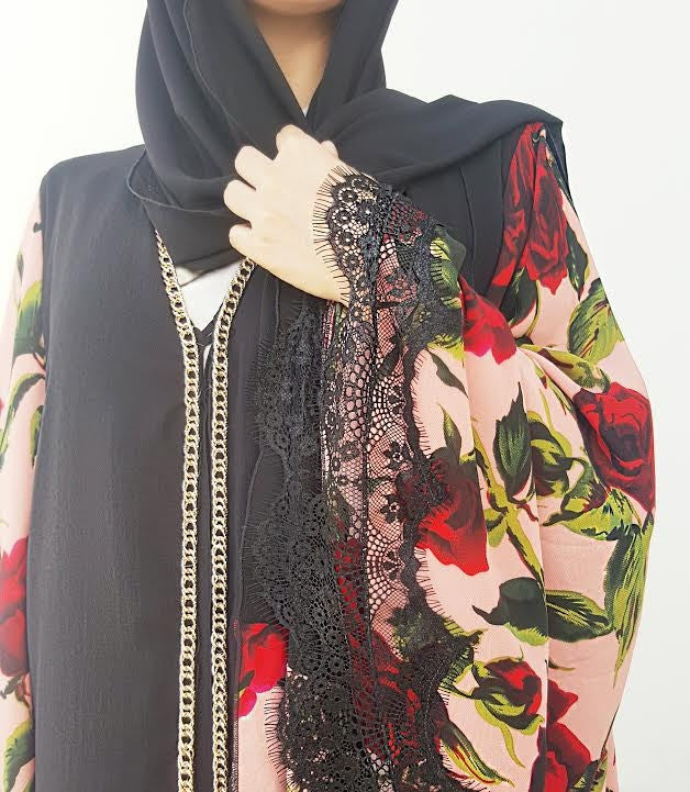 Ramadan 17 Black Floral Print Crepe Georgette Double Layer Abaya