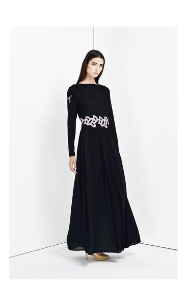 Black embellished waist dress - Haute Elan