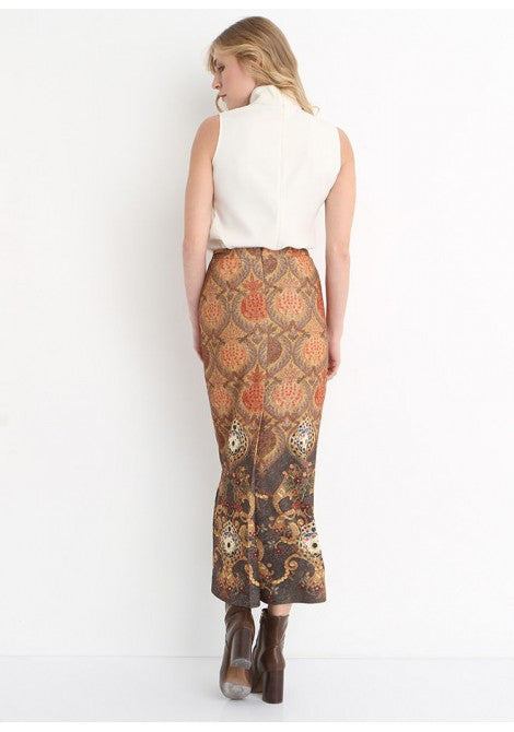 4318 - Brown Ottoman Patterned Pencil Skirt