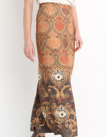 4318 - Brown Ottoman Patterned Pencil Skirt - Haute Elan