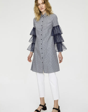 TUNIC SHIRT WITH RUFFLED SLEEVES