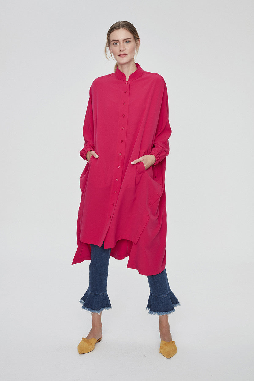 BRIGHT PINK OVERSIZED TUNIC DRESS