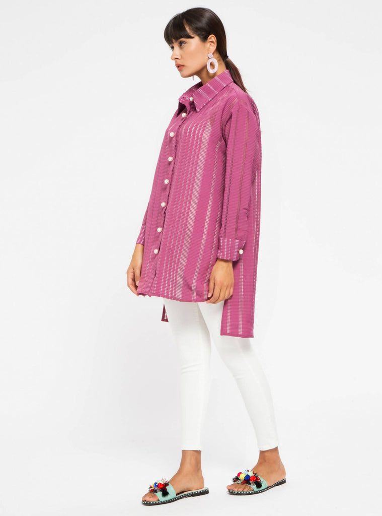 Pearl Button Burgundy Tunic Shirt