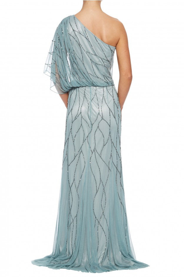 SLATE NET BEADED EVENING GOWN