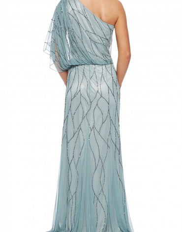 SLATE NET BEADED EVENING GOWN - Haute Elan