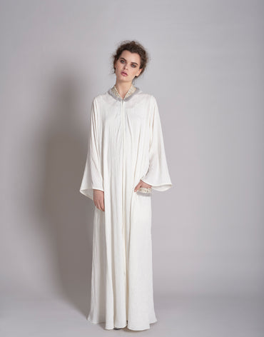 White Self Print Embroidered Kaftan with Flared Sleeves - Haute Elan