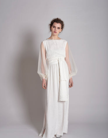 White Self Print with Tulle Bishop Sleeves, Embroidery and Belt - Haute Elan