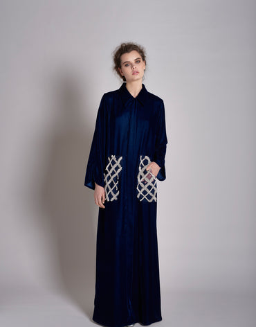 Navy Shirt Kaftan Dress With Embroidery and Optional Fur Detail Pockets