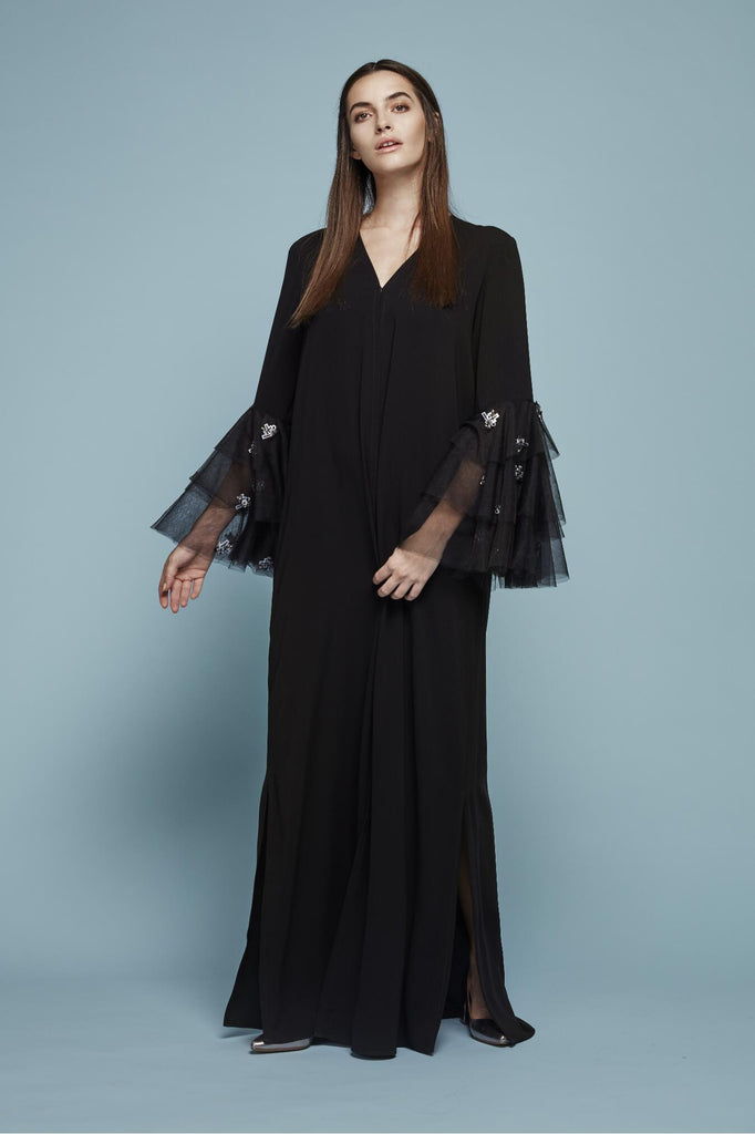 EMBROIDERED RUFFLE TULLE SLEEVES ABAYA