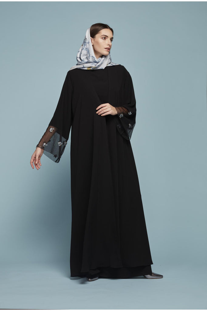 BLACK OVERSIZED ABAYA WITH TULLE AND EMBROIDERED DETAIL SLEEVES + SCARF