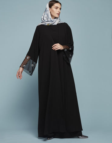 BLACK OVERSIZED ABAYA WITH TULLE AND EMBROIDERED DETAIL SLEEVES + SCARF - Haute Elan