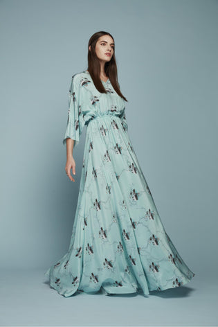 TURQUOISE SILK ROUTE PRINT DRESS