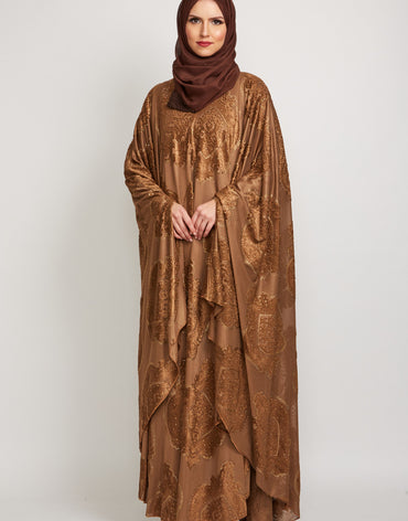 Golden Brown Embellished Cape Abaya