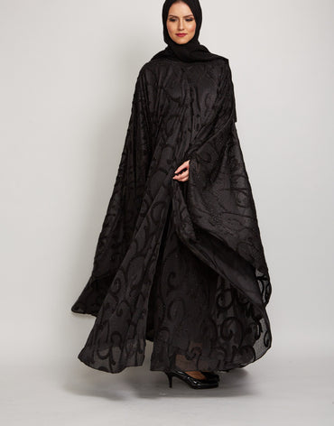 Black Embelllished Cape Abaya