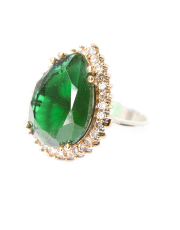 AMINA EMERALD QUARTZ COCKTAIL RING - Haute Elan