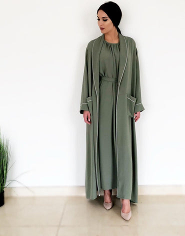 AW18 Moss Green Robe Abaya With Contrast Piping
