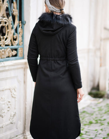 Abaci Black Hooded Cashmere Coat