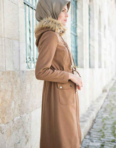 Abacı Camel Hooded Cashmere Coat
