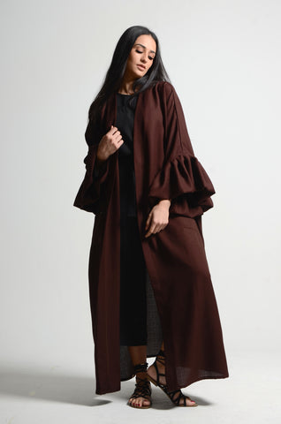 Bubble Sleeved Dark Brown Abaya