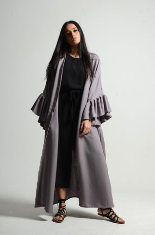 Bubble Sleeved Grey Abaya