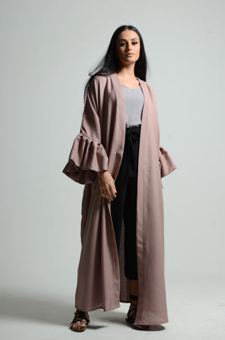 Bubble Sleeved Pink Taupe Abaya