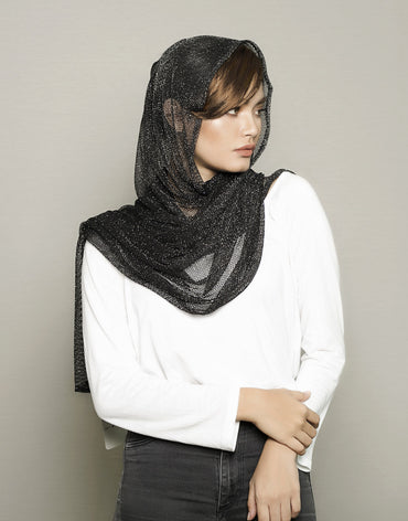 Black Glitter Knitted Scarf