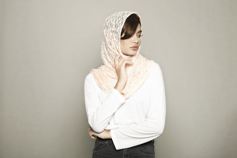Light Peach Knitted Scarf