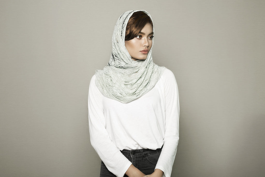 Mint Grey Knitted Scarf