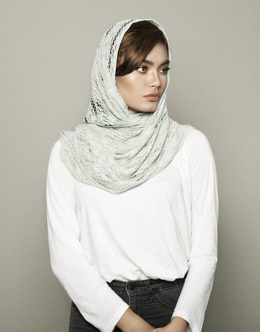 Mint Grey Knitted Scarf - Haute Elan