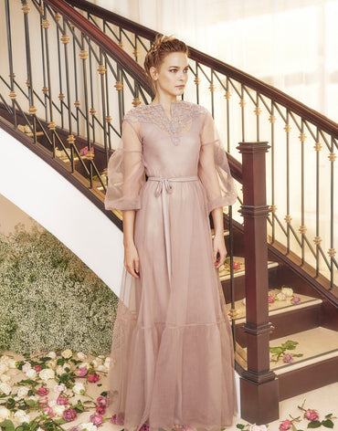 Purple Dove Tulle Dress With Embroidered Neckline And A-Line Sleeves