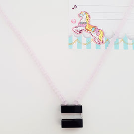 Kaaba Pendant Pink Beads Necklace
