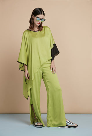 Green Asymmetric Top & Wide-Leg Trousers