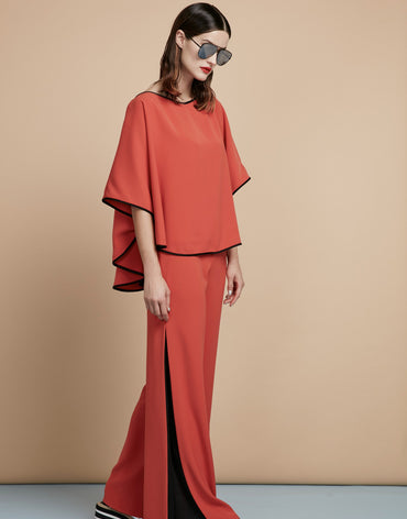 Poncho Top & Wide-leg Trousers With an Insert on the Sides - Haute Elan