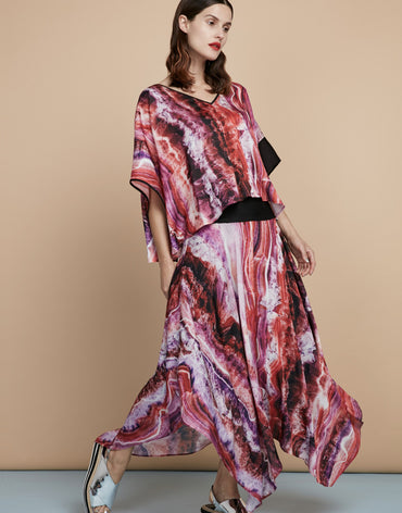 Kaftan-like Printed Top & Handkerchief Printed Maxi Skirt