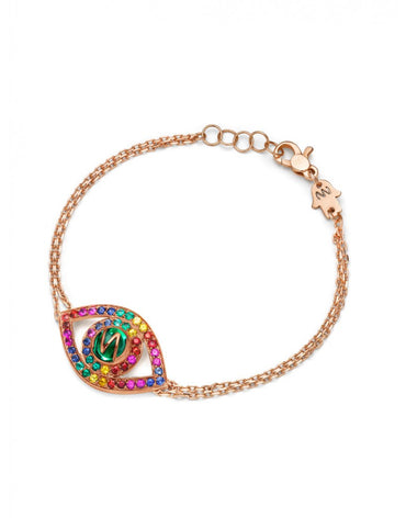 Eye bracelet in rose gold and rainbow stones