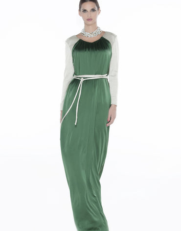 Green Maxi Dress with Beige Sleeves