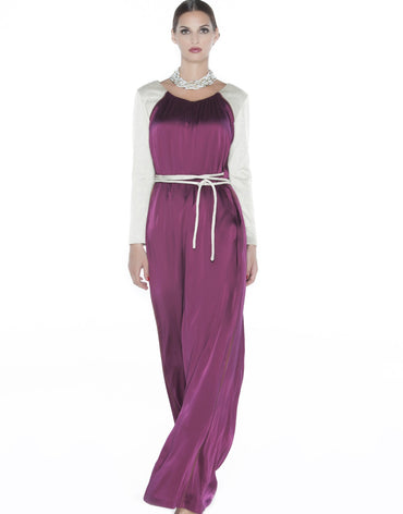 Maroon Maxi Dress with Beige Sleeves