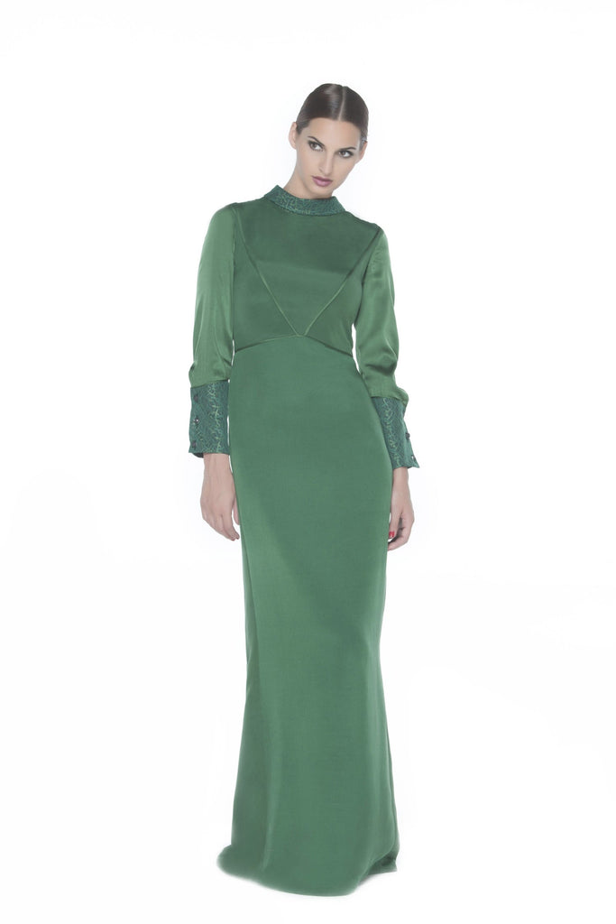 Green Maxi Dress with Satin Sleeves
