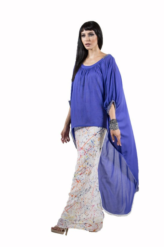 Blue Printed Kaftan Dress - Haute Elan